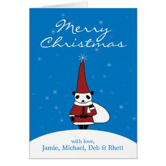 Panda wearing Santa Claus costume and standing Greeting Card