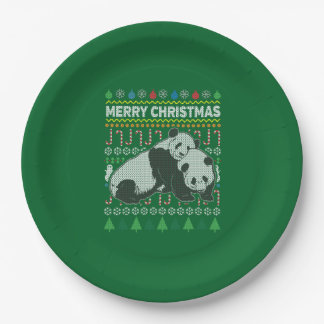 Panda Wildlife Merry Christmas Ugly Sweater 9 Inch Paper Plate