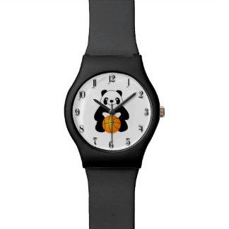 Panda with a basketball ball watch
