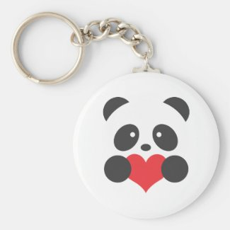 Panda with a heart keyring