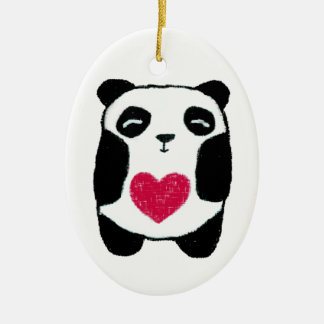 panda with a heart ornament