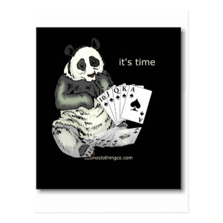 panda with aces design postcard