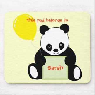 Panda With Ballon Customizable Name Age & More Mouse Pad