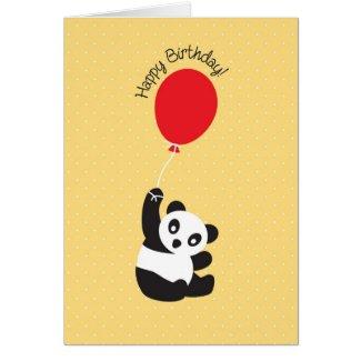 Panda with Balloon Birthday Card