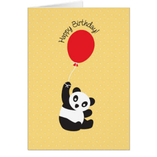 Panda with Balloon Birthday Card