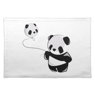 Panda With Balloon Cloth Placemat