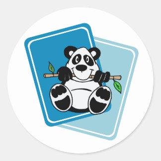 Panda with Bamboo Round Sticker