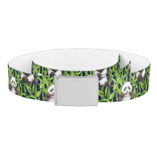 Panda With Bamboo Watercolor Pattern Belt