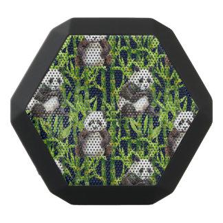 Panda With Bamboo Watercolor Pattern Black Bluetooth Speaker