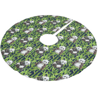 Panda With Bamboo Watercolor Pattern Brushed Polyester Tree Skirt