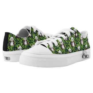 Panda With Bamboo Watercolor Pattern Low Tops