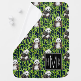 Panda With Bamboo Watercolor Pattern | Monogram Baby Blanket