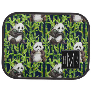 Panda With Bamboo Watercolor Pattern | Monogram Car Mat