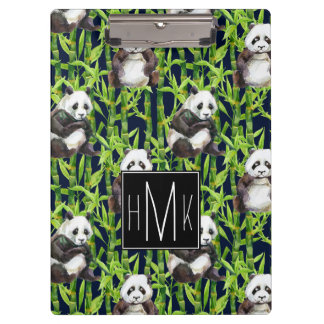 Panda With Bamboo Watercolor Pattern | Monogram Clipboard