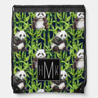 Panda With Bamboo Watercolor Pattern | Monogram Drawstring Bag