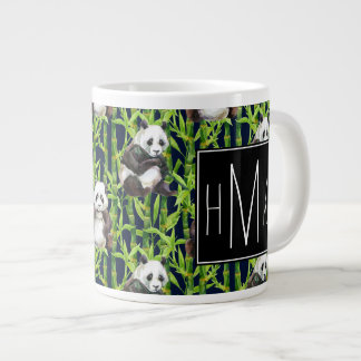 Panda With Bamboo Watercolor Pattern | Monogram Giant Coffee Mug