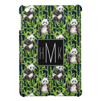 Panda With Bamboo Watercolor Pattern | Monogram iPad Mini Cover
