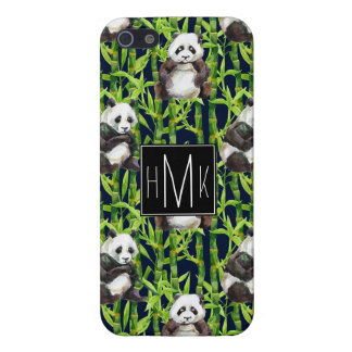 Panda With Bamboo Watercolor Pattern | Monogram iPhone 5/5S Cover