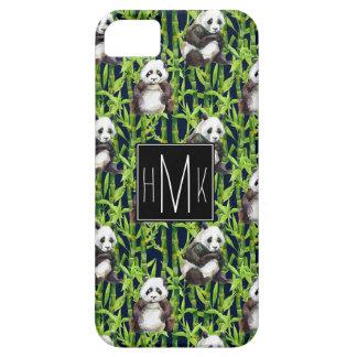 Panda With Bamboo Watercolor Pattern | Monogram iPhone 5 Cover