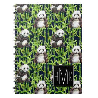 Panda With Bamboo Watercolor Pattern | Monogram Notebook