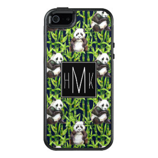 Panda With Bamboo Watercolor Pattern | Monogram OtterBox iPhone 5/5s/SE Case