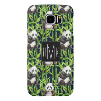 Panda With Bamboo Watercolor Pattern | Monogram Samsung Galaxy S6 Cases