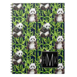 Panda With Bamboo Watercolor Pattern | Monogram Spiral Notebook