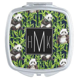 Panda With Bamboo Watercolor Pattern   Monogram Vanity Mirror