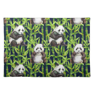 Panda With Bamboo Watercolor Pattern Placemat