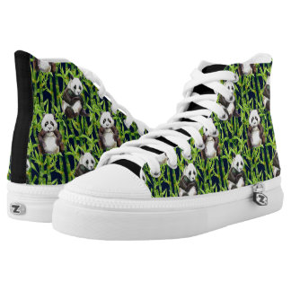 Panda With Bamboo Watercolor Pattern Printed Shoes
