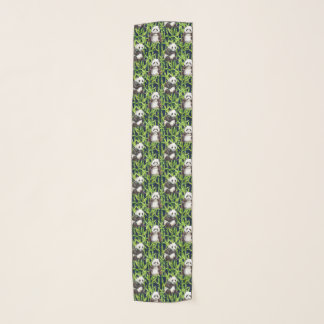 Panda With Bamboo Watercolor Pattern Scarf