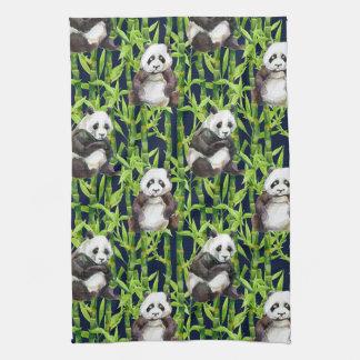 Panda With Bamboo Watercolor Pattern Tea Towel