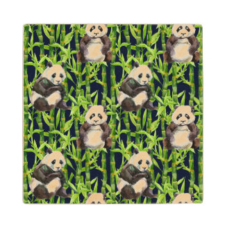 Panda With Bamboo Watercolor Pattern Wood Coaster