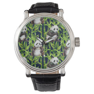 Panda With Bamboo Watercolor Pattern Wristwatch