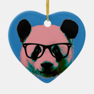 Panda with glasses in blue ceramic heart decoration