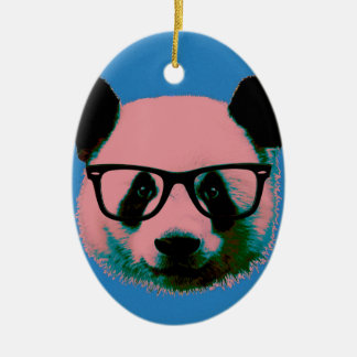 Panda with glasses in blue ceramic oval decoration