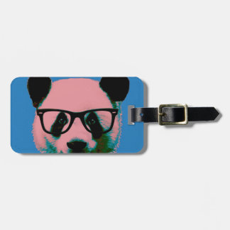 Panda with glasses in blue luggage tag