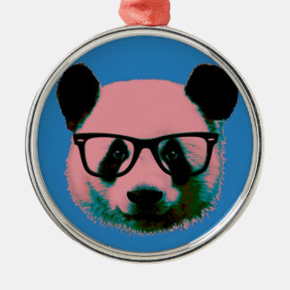 Panda with glasses in blue Silver-Colored round decoration