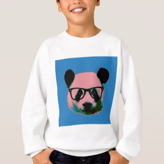 Panda with glasses in blue sweatshirt