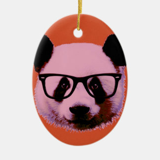 Panda with glasses in orange ceramic oval decoration
