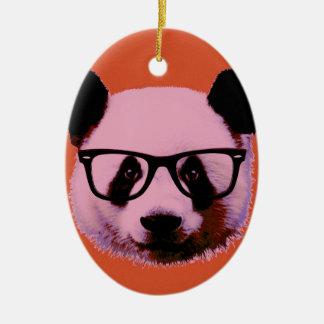Panda with glasses in orange christmas ornament