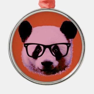 Panda with glasses in orange Silver-Colored round decoration