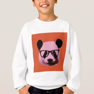 Panda with glasses in orange sweatshirt