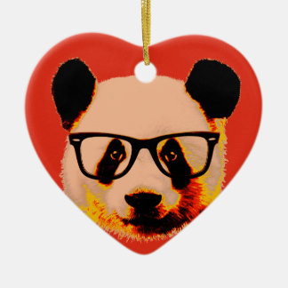 Panda with glasses in red ceramic heart decoration