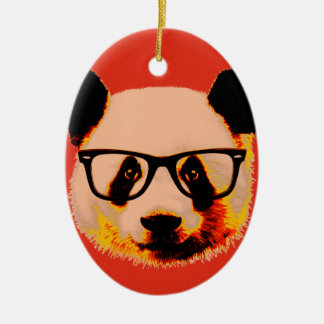 Panda with glasses in red ceramic oval decoration