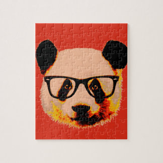 Panda with glasses in red jigsaw puzzle