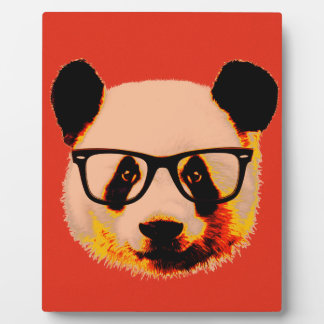 Panda with glasses in red plaque