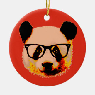 Panda with glasses in red round ceramic decoration
