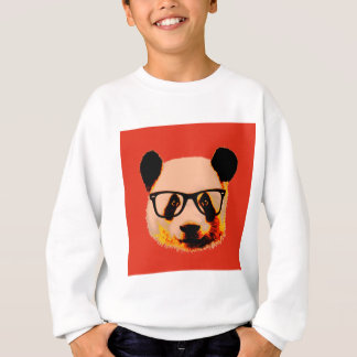 Panda with glasses in red sweatshirt