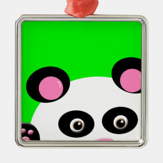 Panda with Green Background Silver-Colored Square Decoration